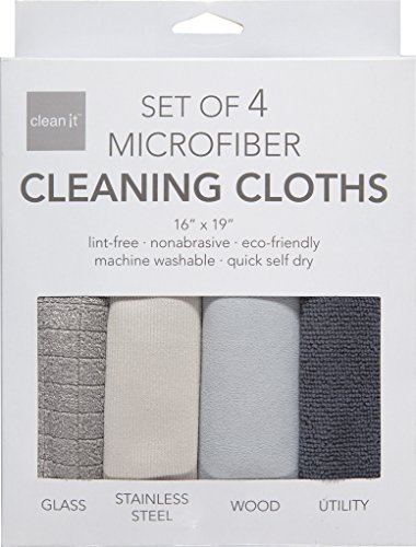 Clean It Microfiber Cleaning Cloths, Polyester-Polyamide Blend, Set of 4, 16-Inches x 19-Inches by KAF Home