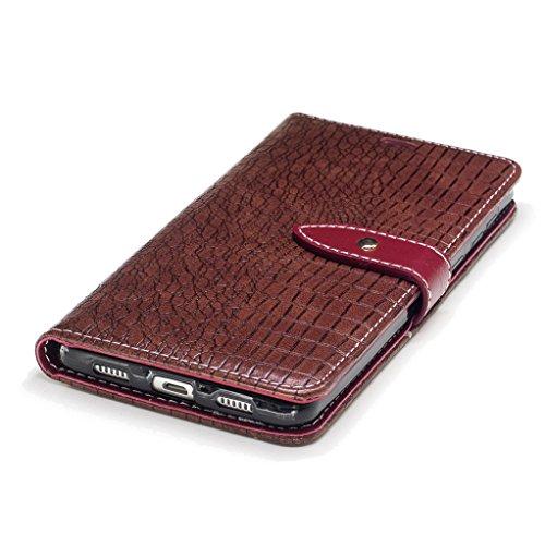 Trumpshop Smartphone Carcasa Funda Protección para Huawei Honor 6X [Vino Rojo] Patrón de Piel de Cocodrilo PU Cuero Caja Protector Billetera Choque Absorción Marrón