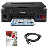 Canon PIXMA G3200 Wireless MegaTank All-In-One Inkjet Printer - Black (0630C002) + Corel Paint Shop Pro X9 Digital Download + High Speed 6ft USB Printer Cable