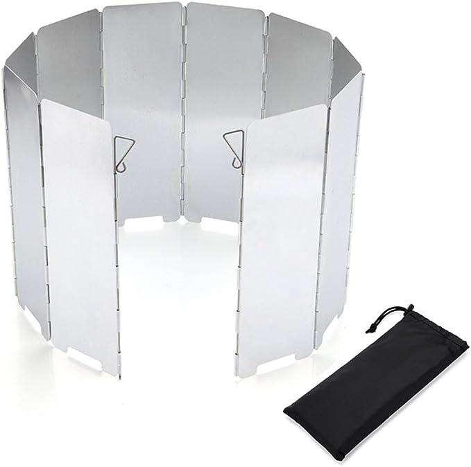 Rompe vientos de 10 placas de aluminio plegables, para al aire libre, Camping, parabrisas, refugio de picnic, estufa o escucho contra el viento
