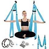 UCEC Yoga Hammock Set, Aerial Yoga Swing with Ceiling Hooks, Extension Straps, Carabiners & Carry Bag for Flying Yoga Inversion Fitness Training