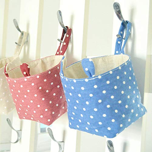 Storage Bag - 2pcs Cotton Linen Storage Bag Wardrobe Hanging Desk Makeup Cosmetic Toy Sundries Organizer Wall - Pockets Hanger Storage Pouch Wall Storage Bags Hang Pocket Hanger Wire Carry Wa
