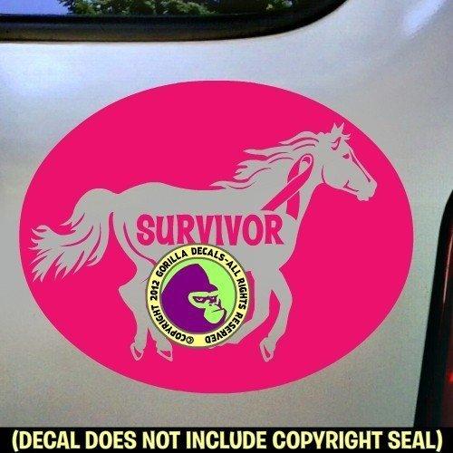 Breast Cancer SURVIVOR Running Horse Vinyl Decal Sticker