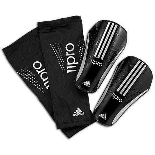 adidas Pro Lite Shin Guard (Black, Metallic Silver, Size Large)