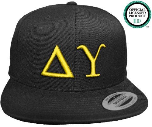 DELTA UPSILON Flat Brim Snapback Hat Yellow Letters / DU Frat | Fraternity Cap