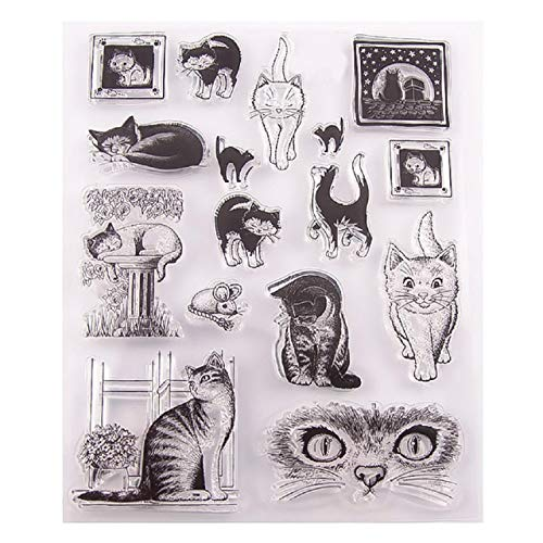 Cinhent Clear Stamps for Cards Making, Cute Cats Silicone Seal DIY Clip Art Album Decoration DIY Cling Seal Scrapbook Embossing Album Decor Craft 14×18cm