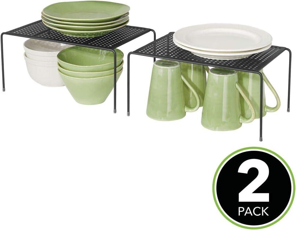 Soportes para Platos Individuales de Metal con pies Antideslizantes Platos Negro etc Vasos mDesign Juego de 2 estantes de Cocina Peque/ños organizadores de armarios para Tazas