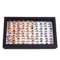 ZLY Jewelry Rings Display Tray Velvet 100 Slot Case Box Jewelry Storage Box