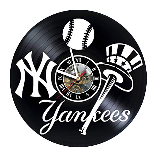 artVoloshka New-York Yankees - Wall Clock Made of Vinyl Record - Decor Original Design - Great Gifts idea for Birthday, Wedding, Anniversary, Women, Men, Friends, Girlfriend Boyfriend and Teens