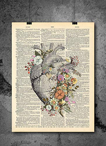 Anatomical Heart Flower Print - Vintage Art - Authentic for sale  Delivered anywhere in USA