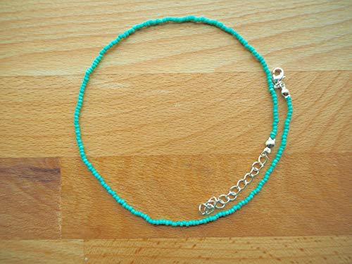 Teal Choker Necklace, Dainty Turquoise Necklace, Tiny Beaded Choker, Seed Bead Choker, Aqua Blue Teal Choker (Necklace Handmade Beaded)