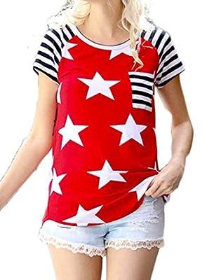 Halife Women's Striped Tunic Shirt American Flag Pattern Short Sleeve Blouse Top