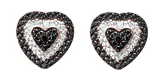 Black & White Natural Diamond Heart Shape Stud Earrings In 14K Rose Gold Over Sterling Silver (0.02 Ct)