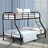 LAGRIMA Twin Over Full Metal Sturdy Bunk Bed Frame, with Inclined Ladder, Safety Rails for Kids Teens Adult, Space-Saving Design - Black