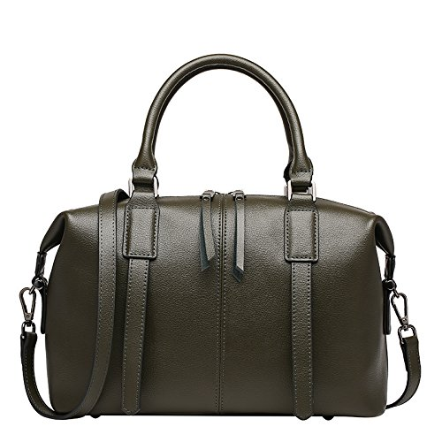 GUANGMING77 Hembra Boston Bolsa Bolso Messenger,Negro Olive green