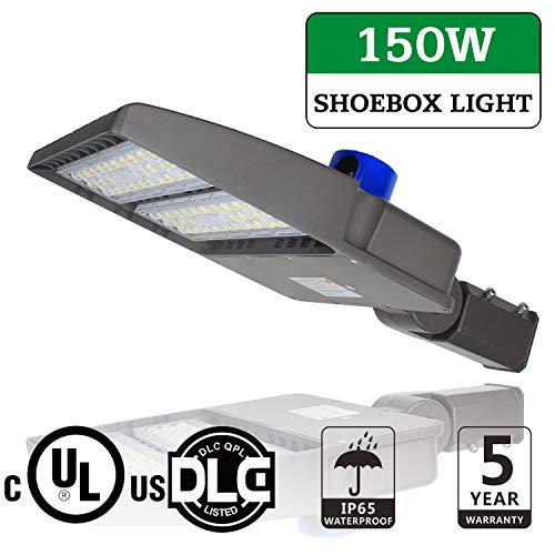 LED Parking Lot Lights, 150W Pole Mounted Shoebox Lights with Photocell Outdoor Commercial Street Area Security Lighting Fixture Slip Fitter - AC100~277V, 20250LM, 5700K, IP65, DLC UL Listed