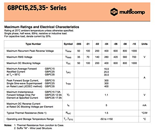MULTICOMP GBPC3506 - Bridge Rectifier Diode, Single, 600V, 35A, Module, 1.1 V, 4 Pins, PowerDrive 2 Charger, Mac Charger (Pack of 4) by Multicomp (Image #3)