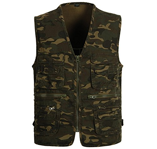 Mens Cotton Camouflage Style Casual Outdoor Fishing Vest US XL (Camouflage Mens Vest)