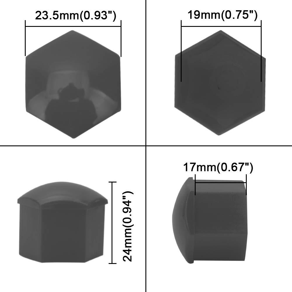 SENZEAL 20/x 19/mm Universal Protector Hex Wheel /écrou Bolt Cap Wheel Lug /Écrous Bolt Coque pour Voiture Noir//Gris avec 1/x /écrou Roue Covers Outil de Retrait 19mm Noir