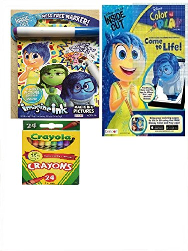 [Disney Pixar Imagine Ink Activity Book and Inside Out Color and Play Activity Book with 24 pk Crayons] (Homemade Disney Character Costumes Adults)