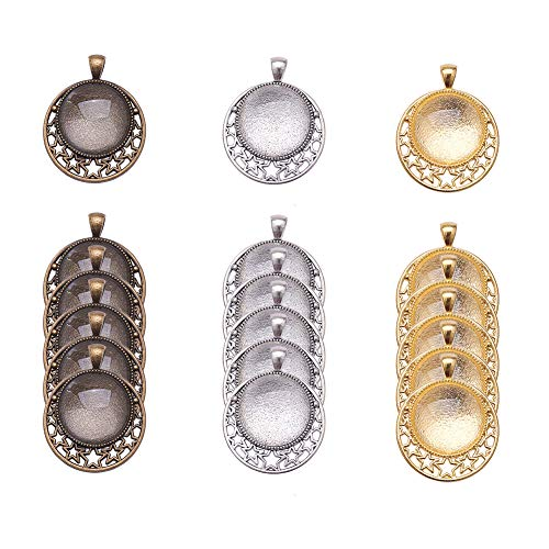 PH PandaHall 18pcs Flat Round Star Pendant Trays Bezel, 20pcs Transparent Glass Cabochon Dome Tiles Clear Cameo, Total 18 Sets for Crafting DIY Jewelry Making