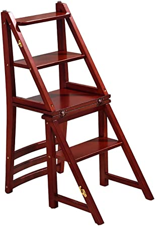 FHTD 4PASOS Madera heces Cubierta Plegable Escalera de Tijera de Cocina escaleras de Madera Pequeño Pie heces Banco de Calzado portátil/Flor Estante para Adultos y Niños,Rojo: Amazon.es: Hogar
