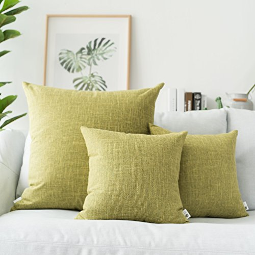 - Kevin Textile Throw Pillow Cases Textural Faux Linen Decor Star Cushion Cover for Living Room, 26x26 inches(Two Pack, Linden Green)