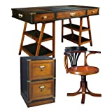 Navigator's Desk with Purser's Chair and Campaign Filing Cabinet, Black and Honey - Office Nautical Furniture Kit, Solid Wood Desks with Chair and Filing Cabinet, Black and Honey - Working Desk with Chair and Filing Cabinet