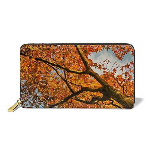 Women Leather Wallet Zipper Around Clutch Purse Waterproof Card Holder Slim Handbag - Maple Leaf