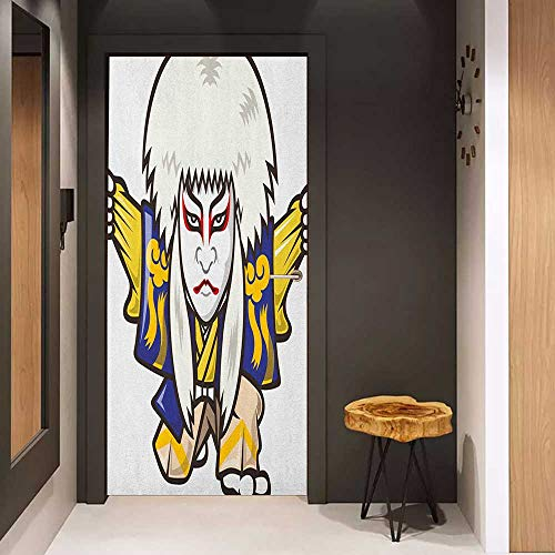 Self-Adhesive Wall Murals Kabuki Mask Character with Kimono Costume Orient Elements Edo Era Arts Theater Play Print Sticker Removable Door Decal W31 x H79 Multicolor