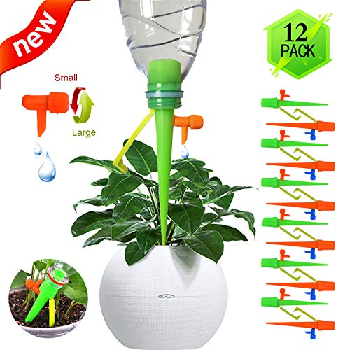 (【2019 New】 Self Watering Spikes,Universal Plant Watering Devices, Plant Spikes System Suitable for All Bottle Mouths with mounting Bracket Automatic Vacation Drip Watering Bulbs Globes Stakes System)