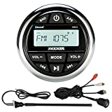 Kicker KMC2 Marine Gauge Style AM/FM Radio Stereo Receiver Media Player Bundle Combo With Enrock USB/AUX To RCA Interface Mount Cable, 45'' Radio Antenna Mast