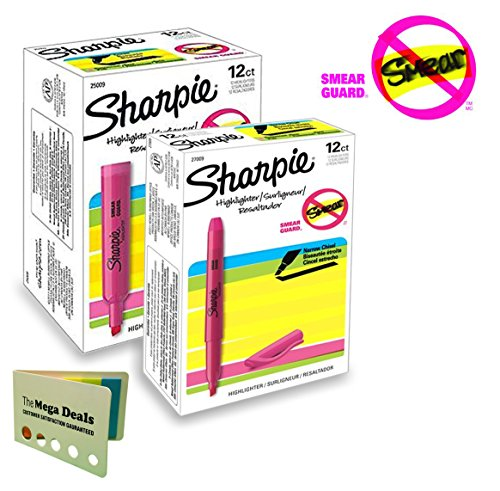 Sharpie Accent Highlighters, Fluorescent Pink, Chisel Tip, Smear Guard; 1 Dozen Tank Highlighters and 1 Dozen Pocket-Style Highlighters (Total of 24 Highlighters) | Includes 5 Color Bright Flag Set
