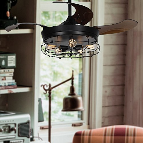 Parrot Uncle Ceiling Fan with Light 46 Inch Industrial Ceiling Fan Retractable Blades Vintage Cage Chandelier Fan with Remote Control, 5 Edison Bulbs Needed, Not Included, Black by Parrot Uncle (Image #8)