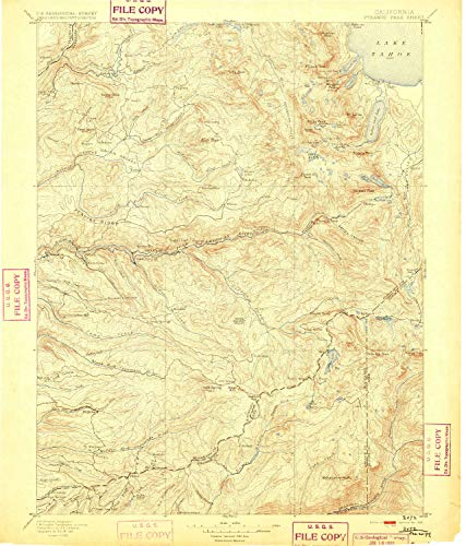YellowMaps Pyramid Peak CA topo map, 1:125000 Scale, 30 X 30 Minute, Historical, 1895, 19.4 x 16.6 in - Polypropylene