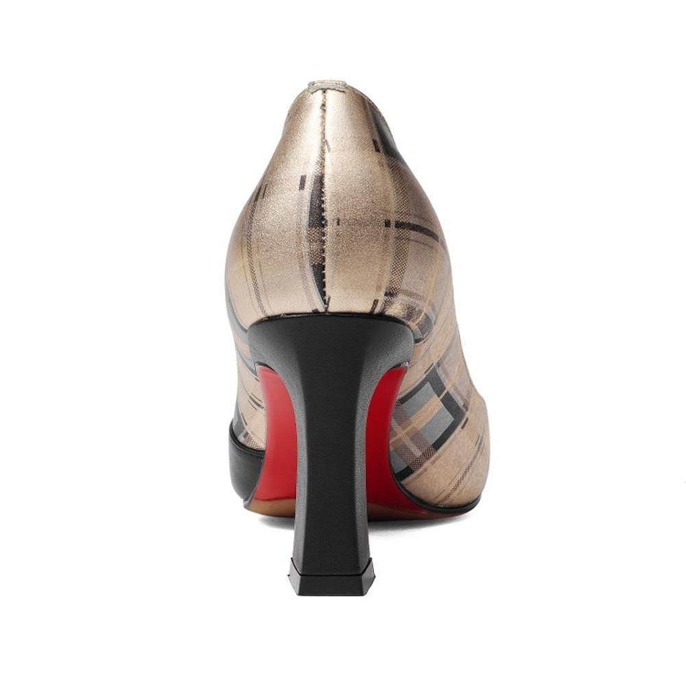 Frauen aus Schuhe aus Frauen echtem Leder Gitter Block Heel Pumps Büroarbeit Größe 35 bis 42 c81807
