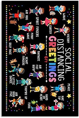 16.5 inch AZSTEEL Social Distancing Greetings 6ft Poster Poster No Frame Board for Office Decor Best Gift for Family and Your Friends 11.7