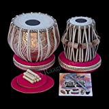 MAHARAJA Pro Flower Designer Tabla Set 3.5 Kg Copper Bayan, Finest Sheesham Dayan with Padded Bag, Book, Hammer, Cushions & Cover (PDI-CJH)