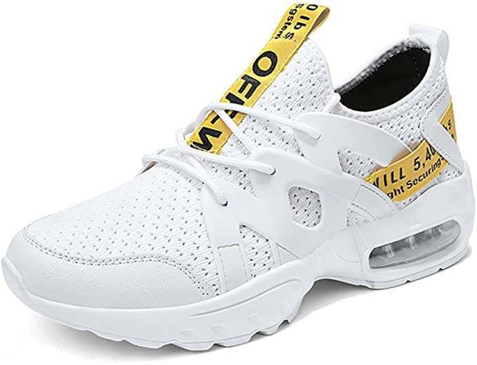 HRN Zapatillas de Deporte para Hombres Cojín de Aire Suela Gruesa Calzado Casual Malla Delantera Zapatillas con Cordones Zapatillas para Correr Primavera al Aire Libre,White,44EU: Amazon.es: Deportes y aire libre