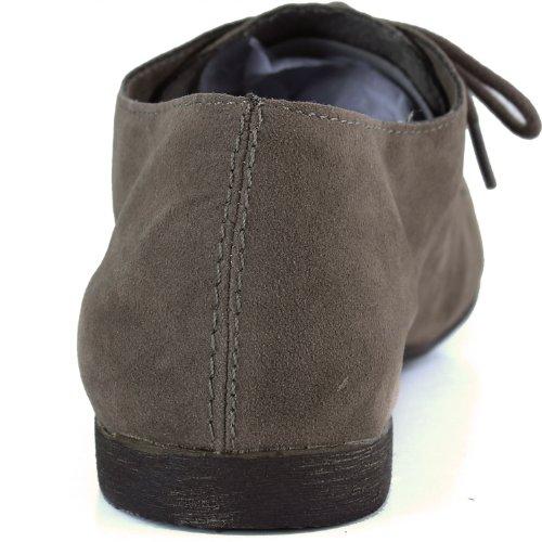 Womens Klassisk Snøring Flat Ballett Loafers Oxford Sneaker Sko Taupe