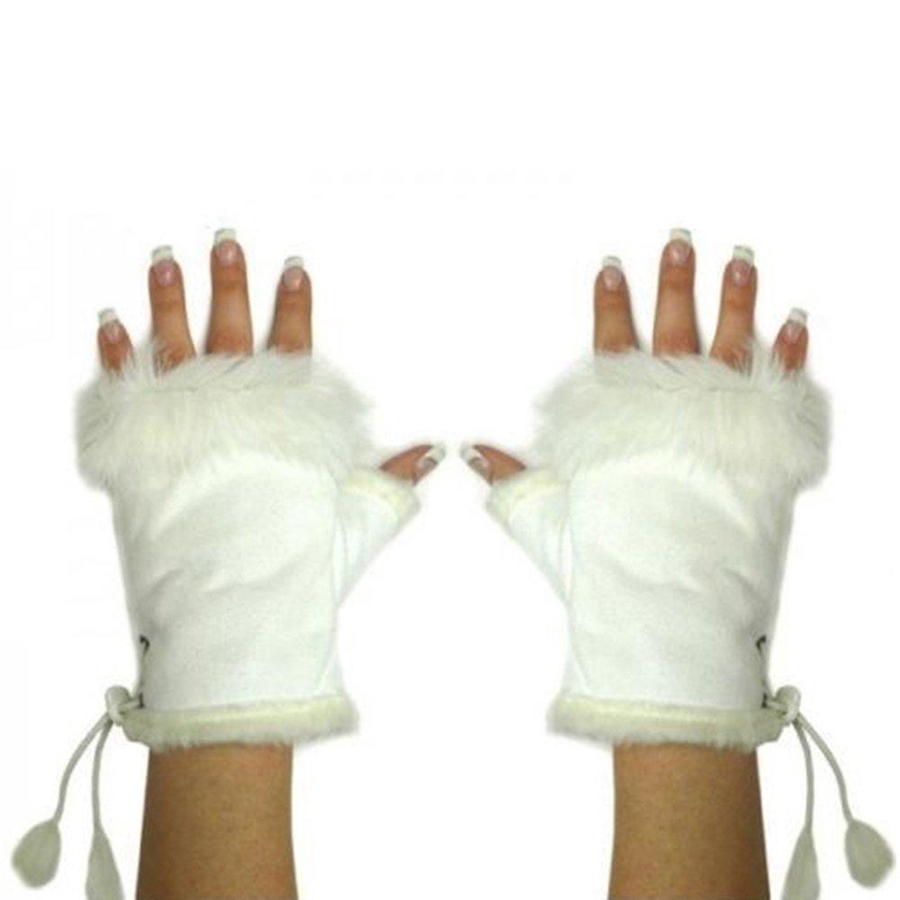 Bluelans/® Kunstleder Fellimitat Fingerlose Handschuhe Fellhandschuhe Damenhandschuhe Winterhandschuhe F/äustlinge Fausthandschuhe