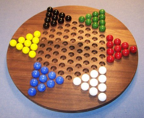 Checker Circle - Wooden Marble Game Board - Chinese Checkers - Oiled -18