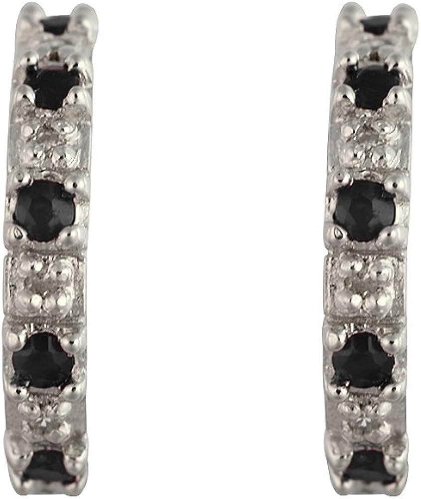 Bijoux pour tous 253E1502-01/925 - Pendientes de plata de ley con zafiro (.04) con cierre de mariposa a presión
