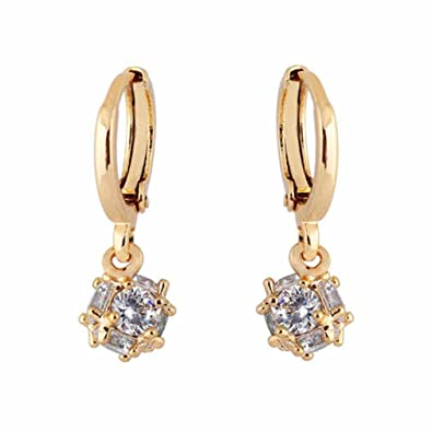 YAZILIND Charming 14K Hollow Design Gold Filled Inlay Round Clear Cubic Zirconia Dangle Drop Earrings for Women QJCGDZoCjS
