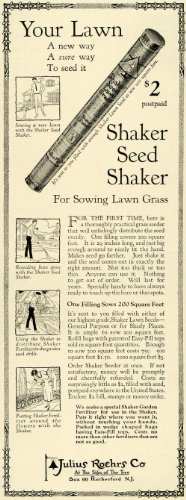 1924 Ad Julius Roehrs Lawn Grass Seed Shaker Planting Fertilizer Flowers - Original Print (Planting Lawn Seed)