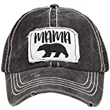 MIRMARU Women's Baseball Caps Distressed Vintage Patch Washed Cotton Low Profile Embroidered Mesh Snapback Trucker Hat (Mama Bear, Black)