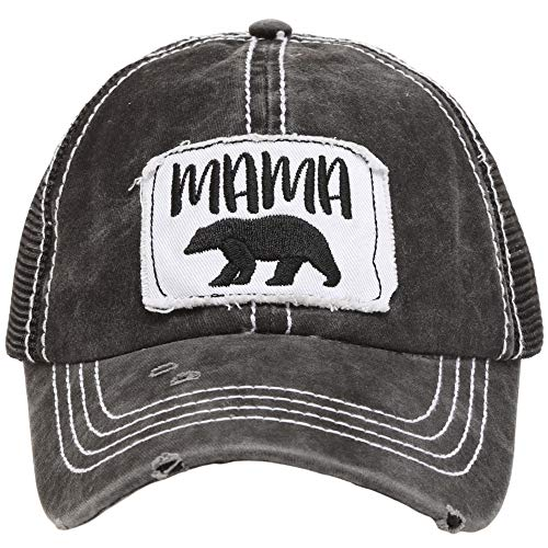 - MIRMARU Women's Baseball Caps Distressed Vintage Patch Washed Cotton Low Profile Embroidered Mesh Snapback Trucker Hat (Mama Bear, Black)