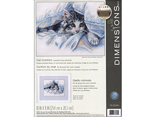 (Dimensions Cat Blanket Counted Cross Stitch Kit for Beginners, 14 Count White Aida Cloth, 10'' x 8'' )