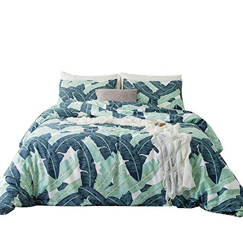 YuHeGuoJi 100% Cotton 3 Pieces Banana Leaves Duvet Cover Sets Green Botanical Bedding Set 1 Tropical Duvet Cover with Zipper Ties 2 Pillowcases Luxury Quality Soft Comfortable Breathable Lightweight
