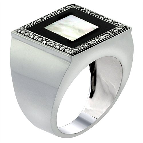 10 Diamond Mother Of Pearl - 10k White Gold Diamond Natural Mother of Pearl on Onyx Mosaic Ring Square 9/16 inch wide, size 14